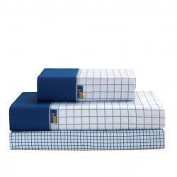 Sabana plegada checks gris-azul 09
